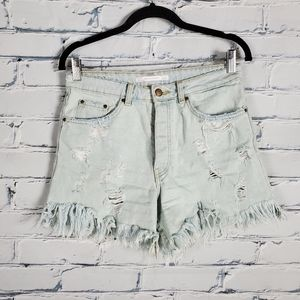 Zara High Rise Button Fly Distressed Jeans
